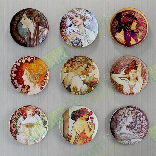 Mucha Paintings Portfolio Decorative Plates European Style American Living Room Restaurant Wall Hangers Disk Ceramic Plate Decoration