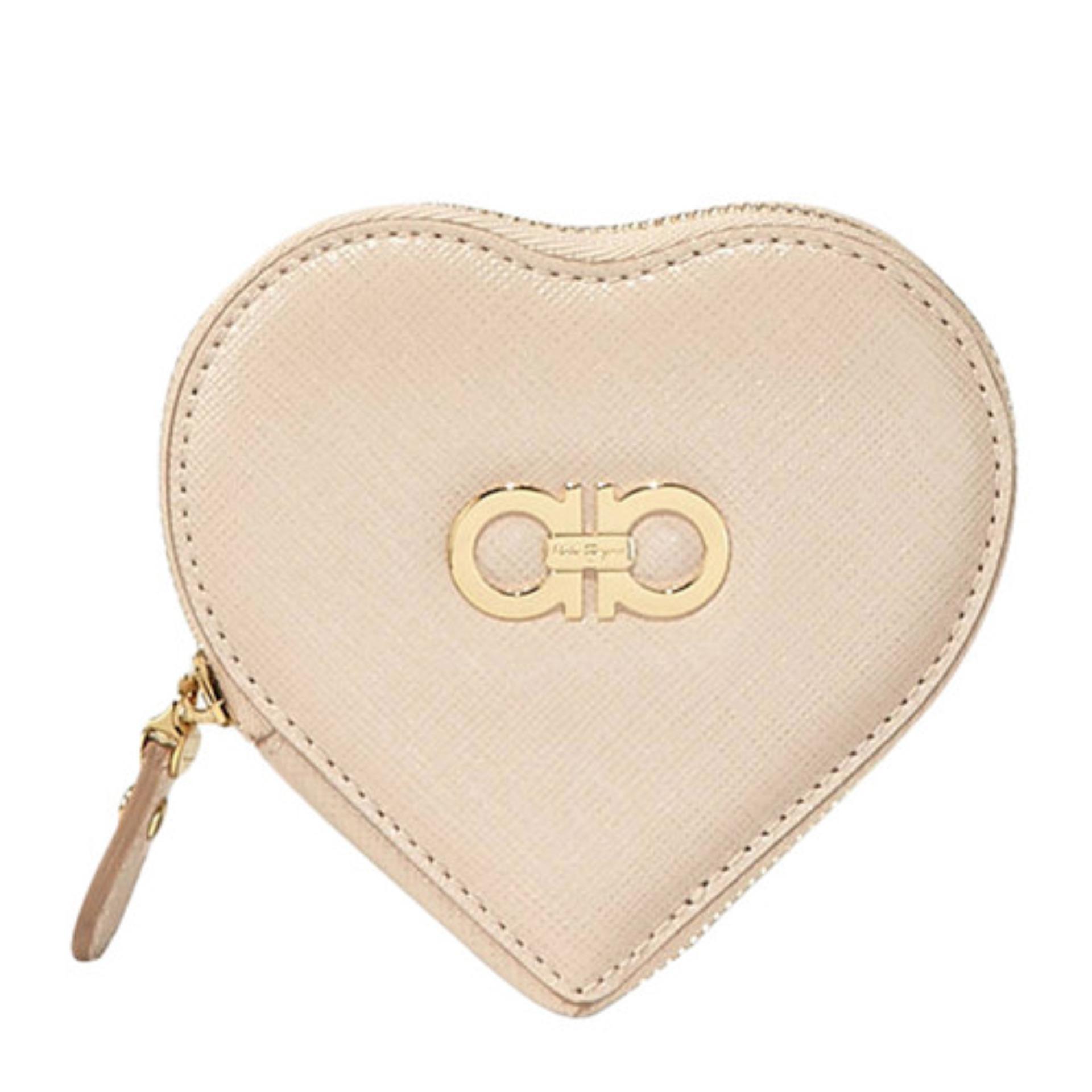 f2556d6fc5 Salvatore Ferragamo Gancini Icon Heart Coin Purse (New Bisque)    22C113585056