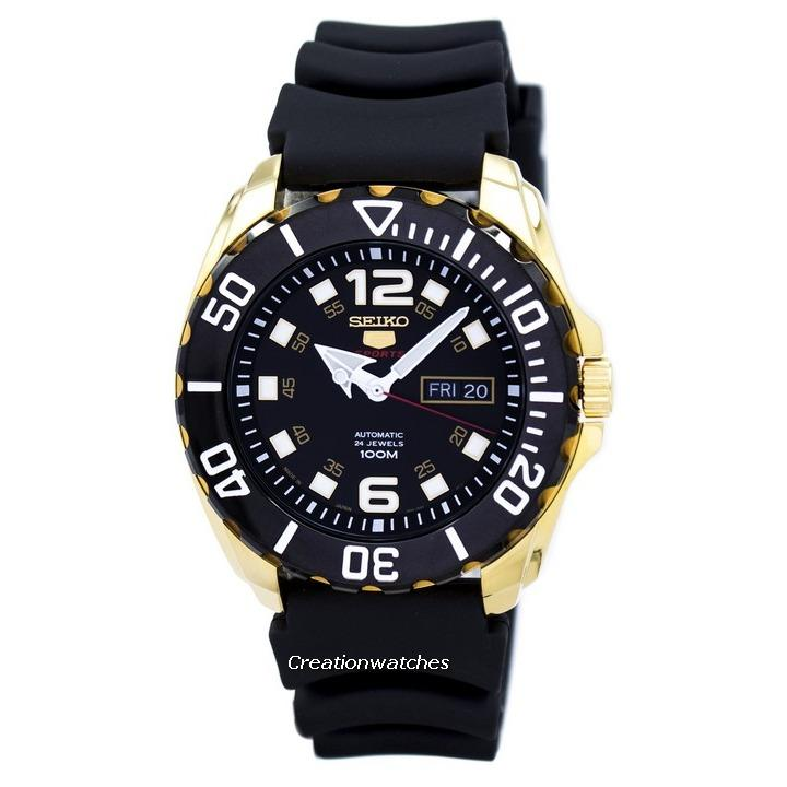 Seiko 5 Sports Automatic Japan Made Men's Black Rubber Strap Watch SRPB40J1