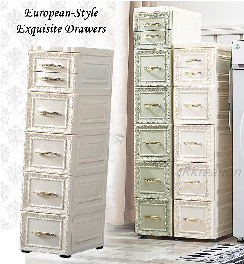 Exquisite European-style storage cabinet drawer rack for home bedroom organizer 18cm