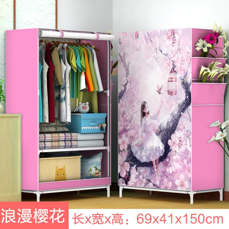 Simple Wardrobe Single Person Small Closet Dormitory Assembly Steel Pipe Fabric Cloth Wardrobe