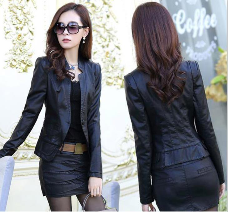 Womens Leather Jacket And Skirt 2-Piece Set By Taobao Collection.