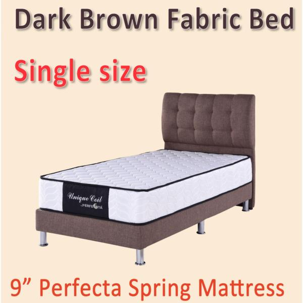 Single size Dark Brown Bed Frame and Spring Mattress