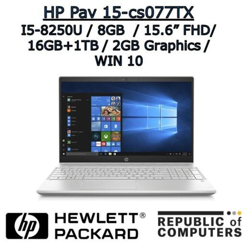 HP PAVILION NOTEBOOK 15-cs0077TX I7-8250U / 8GB / 16GB+1TB / 2GB NVIDIA / 15.6 FHD / WINDOW 10