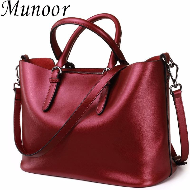 Recent Munoor High Quality Italian 100 Genuine Cow Leather Women Top Handle Bags Fashionable Lady Shoulder Bags