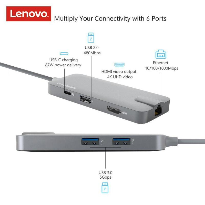 Lenovo USB C to HDMI 4K, Gigabit Ethernet port (RJ-45 port),  87W PD USB-C charging port, 2 x USB 3.0 ports and 1 x USB 2.0 port (C106A) Compatible with Samsung Note 8/9/S8/S9, Macbook Pro/Air, Dell, Huawei, Lenovo Yoga, Microsoft Go, Surface Pro