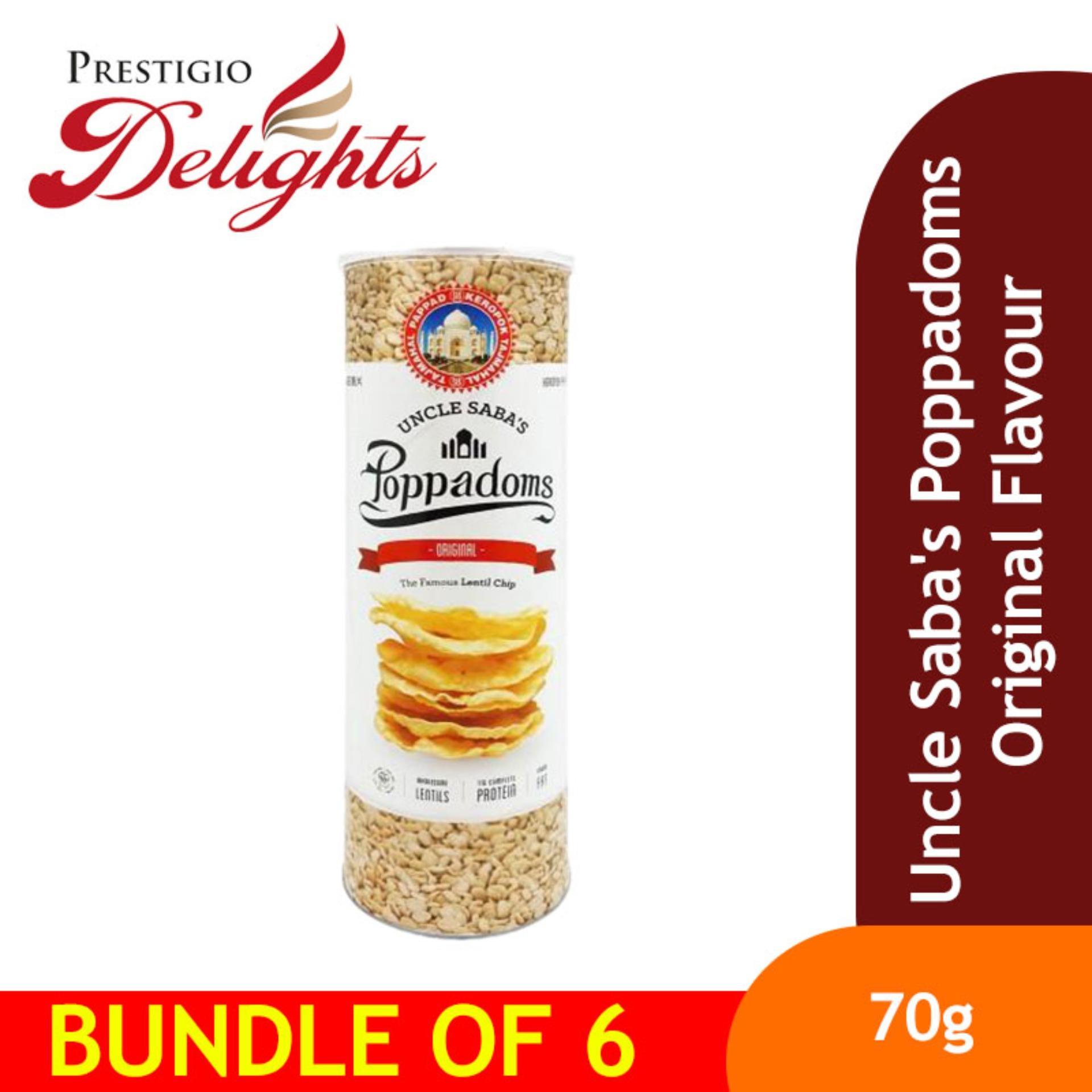 Uncle Sabas Poppadoms Original Flavour Bundle Of 6 By Prestigio Delights.