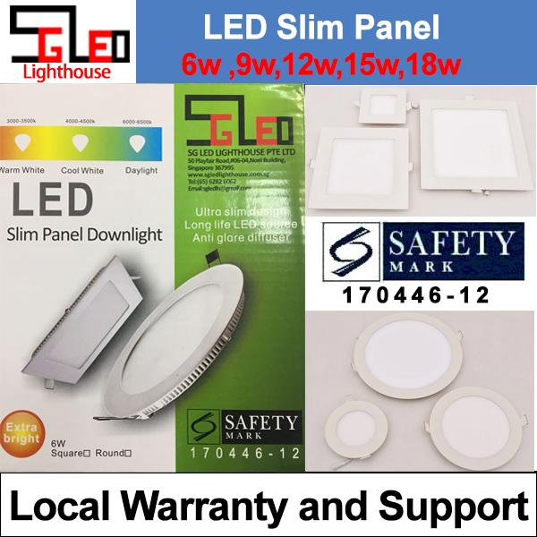 Safety Mark LED Slim Panel Down Light 9w Square Warmwhite