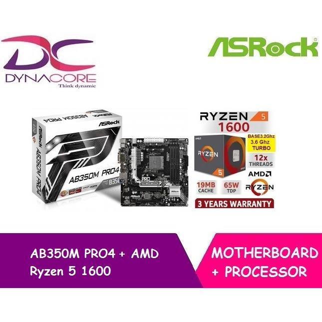 Buy Asrock Ab350M Pro4 Motherboard Amd Ryzen 5 1600 6 Core 3 2 Ghz 3 6 Ghz Turbo Cheap On Singapore
