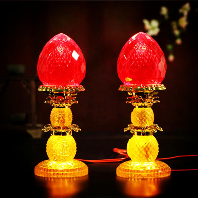 Buddhist Prayer Room Buddhist Offering Light LED Red Lotus Lamp Bodhisattva Buddha Lamp Buddha Ever-birght Lamp lotus fo Buddha Lamp Lights with High 23 Cm