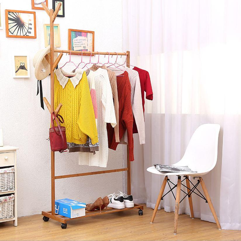 JIJI Standing Clothes Rack Original Wood LRCR - 06B (Free Installation) - Coat Racks / Hallway Entry Furniture / Home Decor (SG)