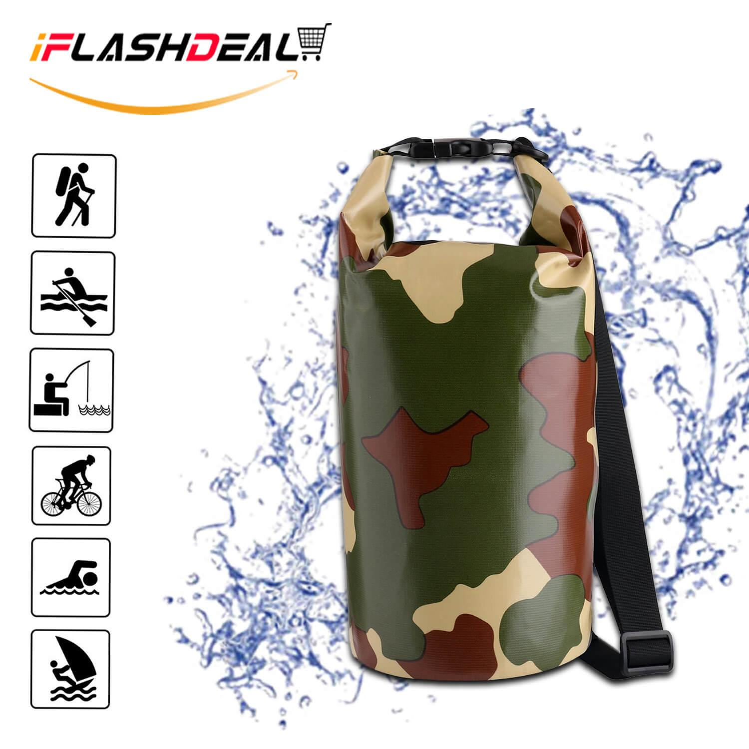 Iflashdeal Waterproof Dry Bag, Camouflage Dry Compression Sack With Zip Lock Seals & Detachable Shoulder Strap For Swimming, Boating, Kayak, Rafting, Hiking By Iflashdeal.