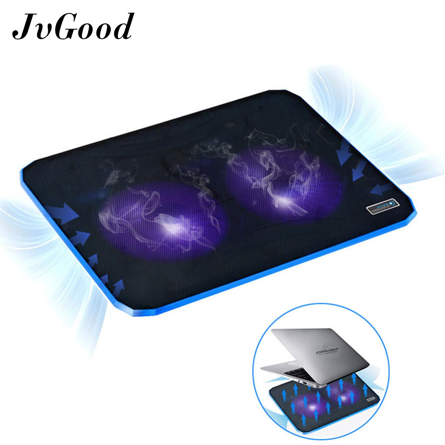 JvGood Laptop Cooling Pads Stands Ultra Slim Laptop Cooler Lightweight Chill Portable Notebook Mat with 2 Heavy Duty Fans USB Powered with LED Lights for 10 - 17 Notebook Computer