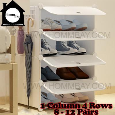 DIY Shoe Shoes Rack Storage Drawers Multi Purpose Modular Organizer Plastic Cabinets I WW Series I 1 Column 4 Rows