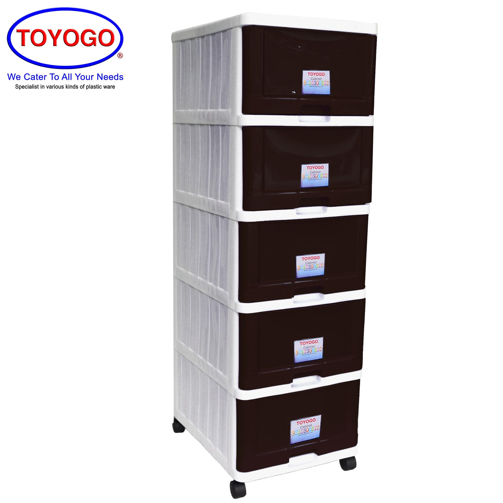 Toyogo Plastic Storage Cabinet / Drawer With Wheels (5 Tier) (707-5)