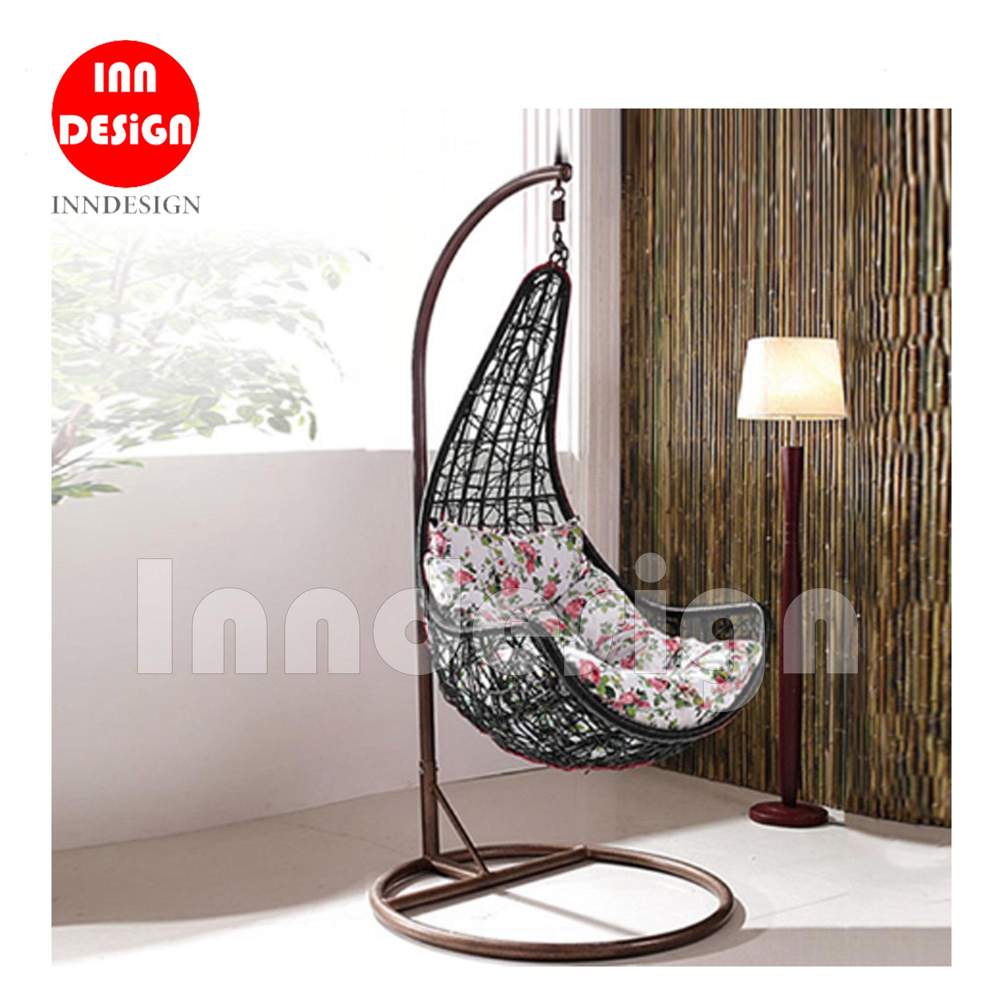 Miki Swing Chair / Lounge Chair / Relax Chair ( Black + Flower)