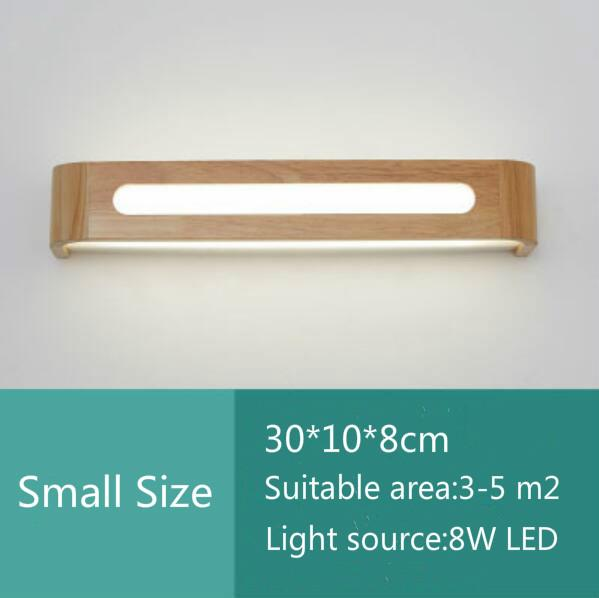 LED Solid Wood Wall Lamp Living Room Study Bedroom Bedside Lights Stairway Aisle Bathroom Mirror Front Lamp Simple Nordic Wood Light With Light Source 30*10*8CM 8W , Warm Light - intl