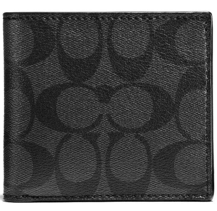Coach Men Coin Case In Signature Men Wallet Charcoal Black F75006 Gift Receipt Price Comparison