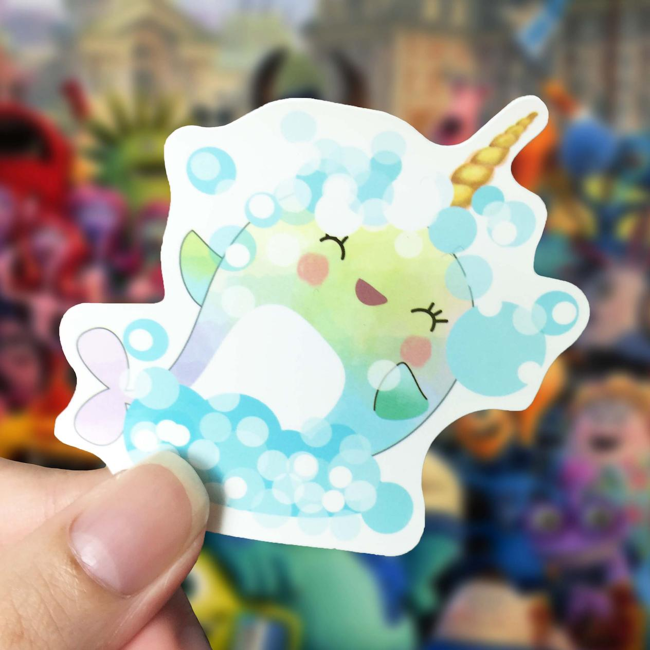 LUNARBAY Whalicorn Bubbles Day Vinyl Sticker / Cute Sticker / Laptop Decal