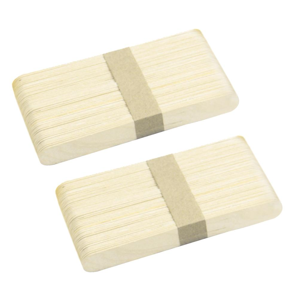 100pcs Ice Cream Sticks Natural Wooden Popsicle Sticks Diy Craft Sticks Freezer Pop Sticks 4.49inches Length Wooden Color By Duha