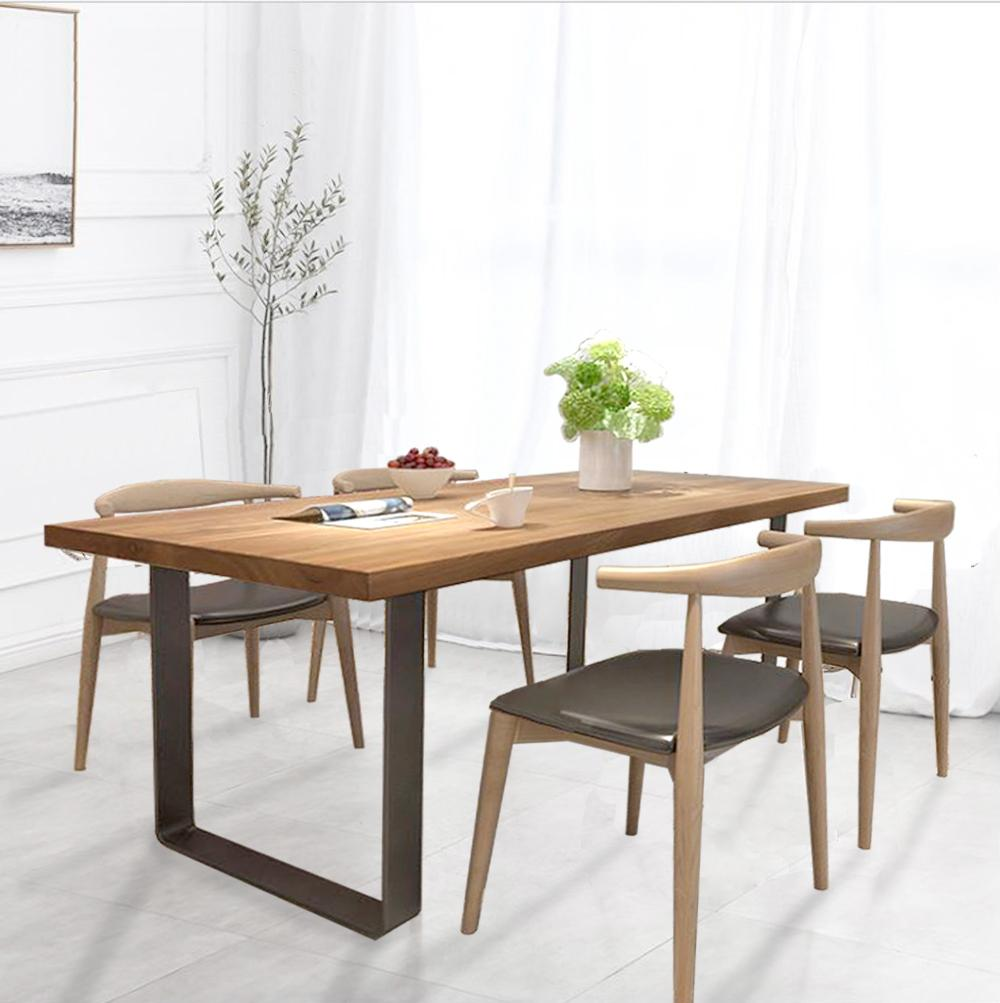 [160 x 80 cm] BURKE Solid Rubber Wood Dining Table Set With 4 Dining Chairs
