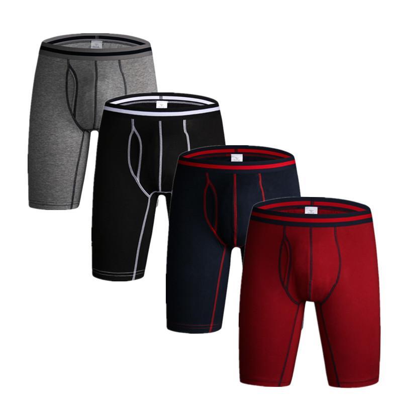 1dcc023b54f 3 Pcs  lot Men s Cotton Underwear Long Boxers Flexible Shorts Pure Color  for Man Boxer