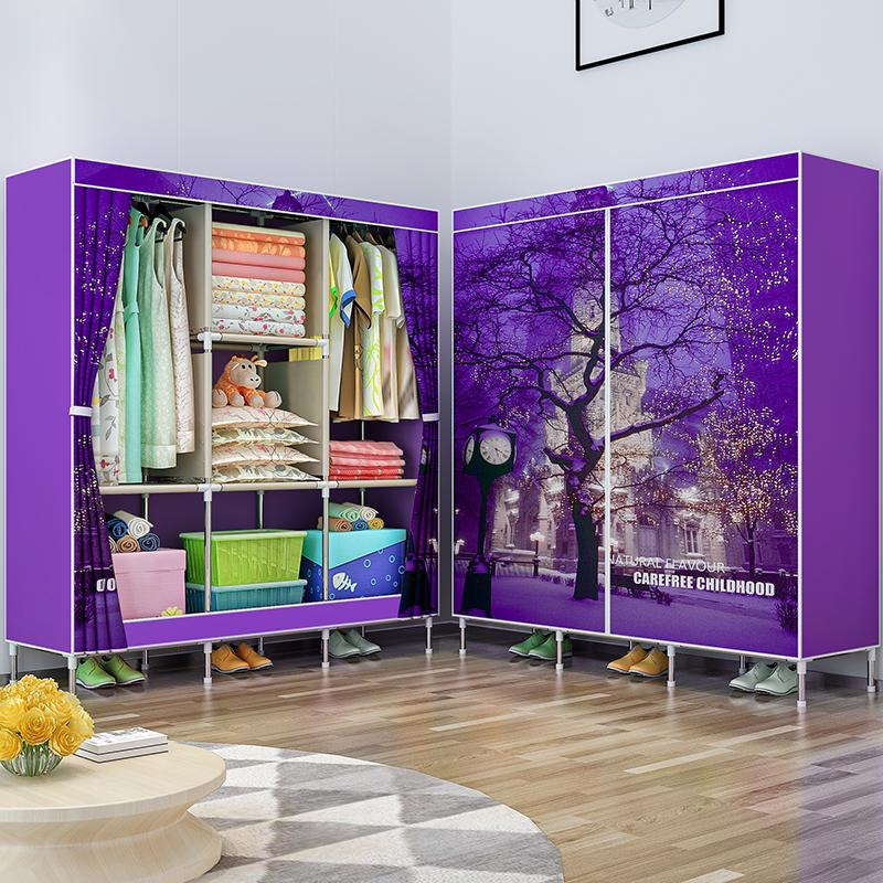 Shome nuo Simple Wardrobe Double Cloth Wardrobe Steel Pipe Rough Reinforced Single Person Closet Fabric Assembly Storage Cabinets