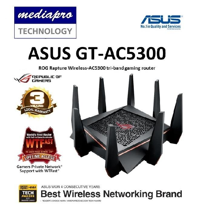 ASUS ROG Rapture GT-AC5300 Tri-Band Gaming Router with 8 x Gigabit LAN  ports - Best solution for VR Gaming and 4K Streaming