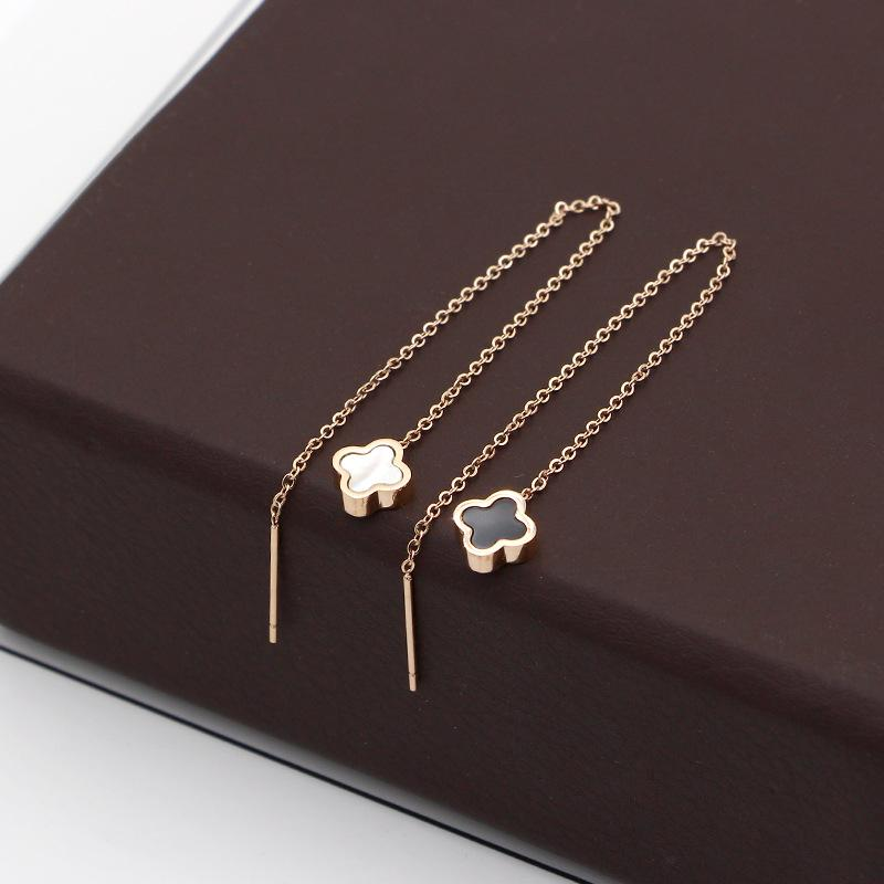 bb96c7c50 Long Hanging Earrings Female Elegant South Korea Simple Allergy Friendly  Rose Gold Clover Earrings Ear Stud