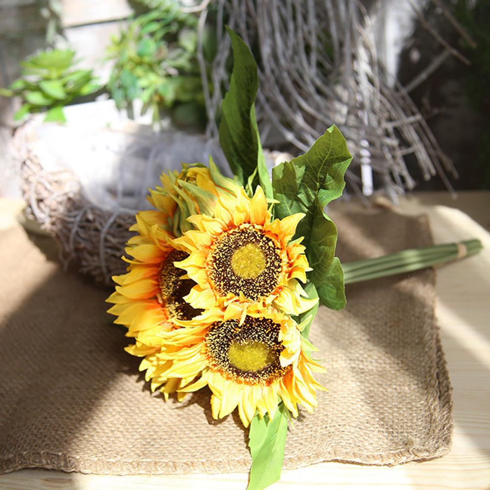Fake Silk Artificial 7 Heads Sunflower Flower Bouquet Floral Garden Home Decor - intl
