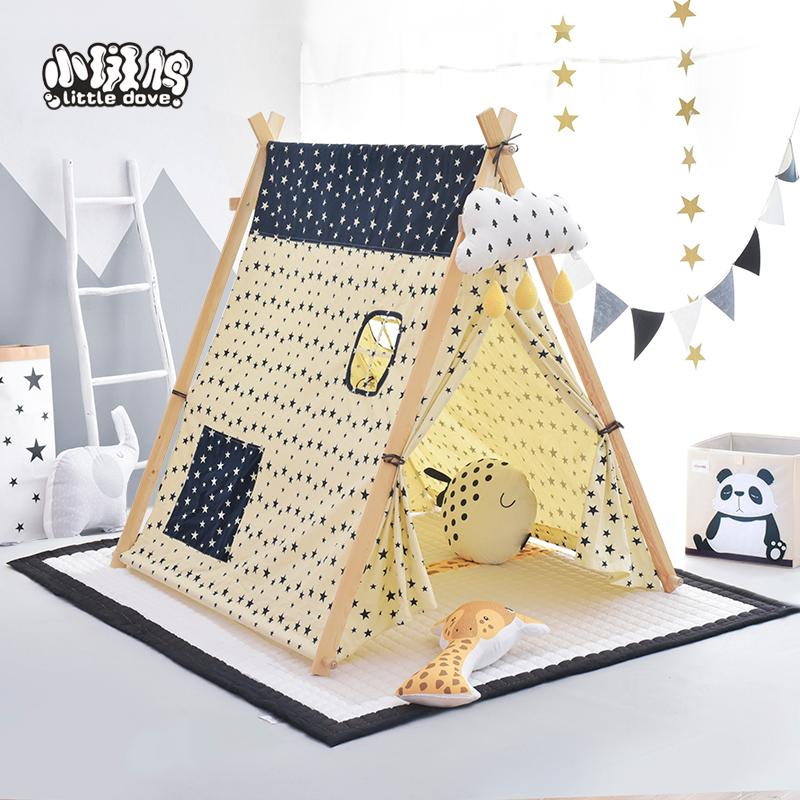 Kid's Tent Pure Cotton Large Toy House Cloth Tent Kid's Tent Easily Capable of Wood Structure Tent