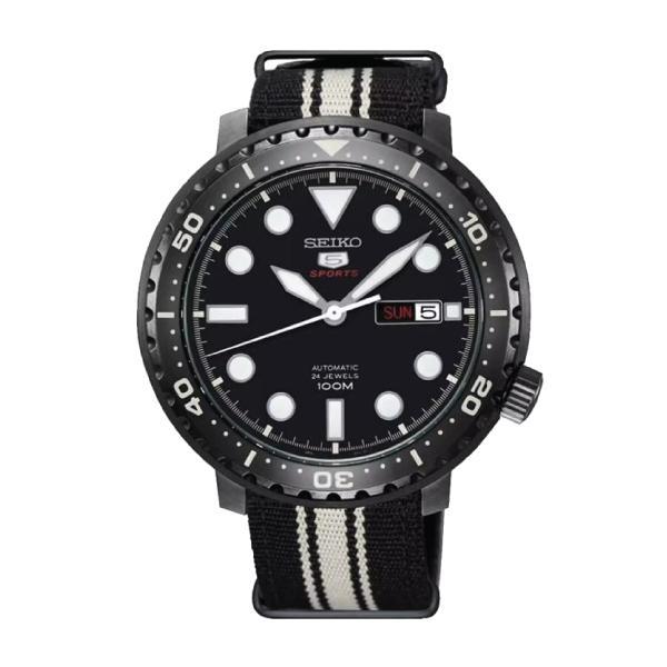 Seiko 5 Sports Automatic Black and Cream Nylon Strap Watch SRPC67K1