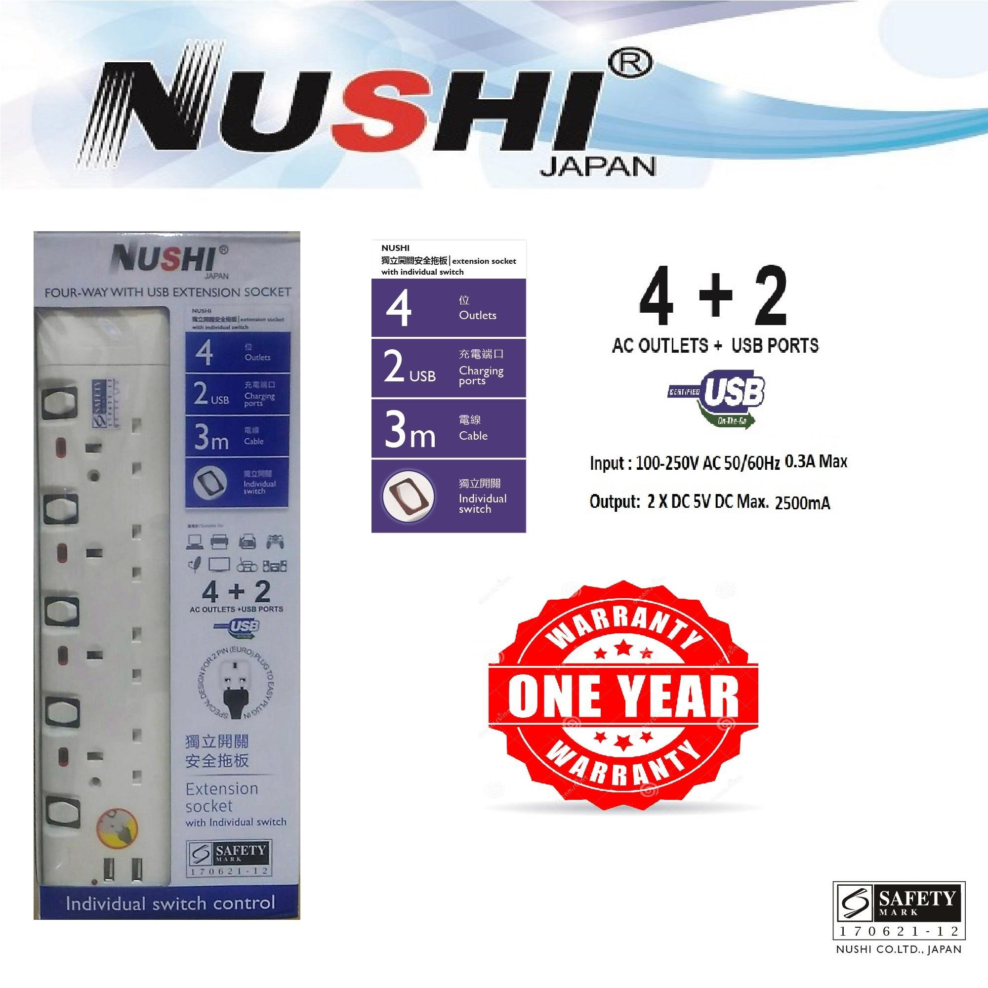 Discount Nushi Four Way Extension Socket With Usb One Year Warranty Nushi On Singapore