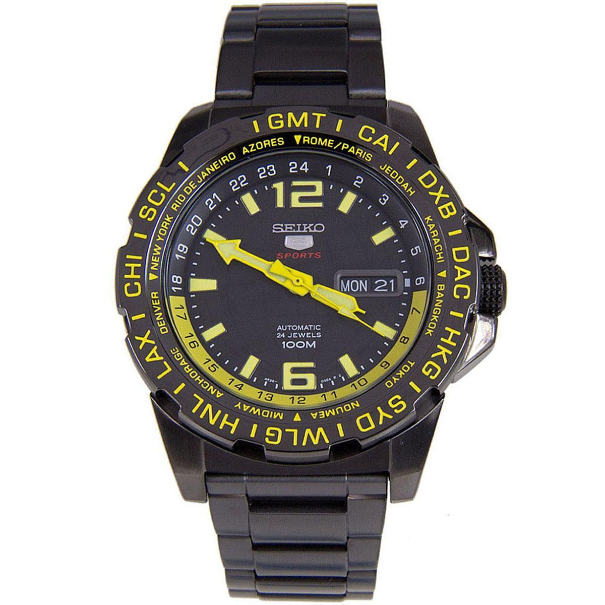 Seiko 5 Sports Black Stainless-Steel Case Stainless-Steel Bracelet Mens SRP689K1