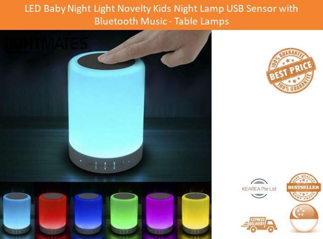 LED Baby Night Light Novelty Kids Night Lamp Girl Boy Gift USB Sensor with  Bluetooth Music Children Room Toys Table Lamps