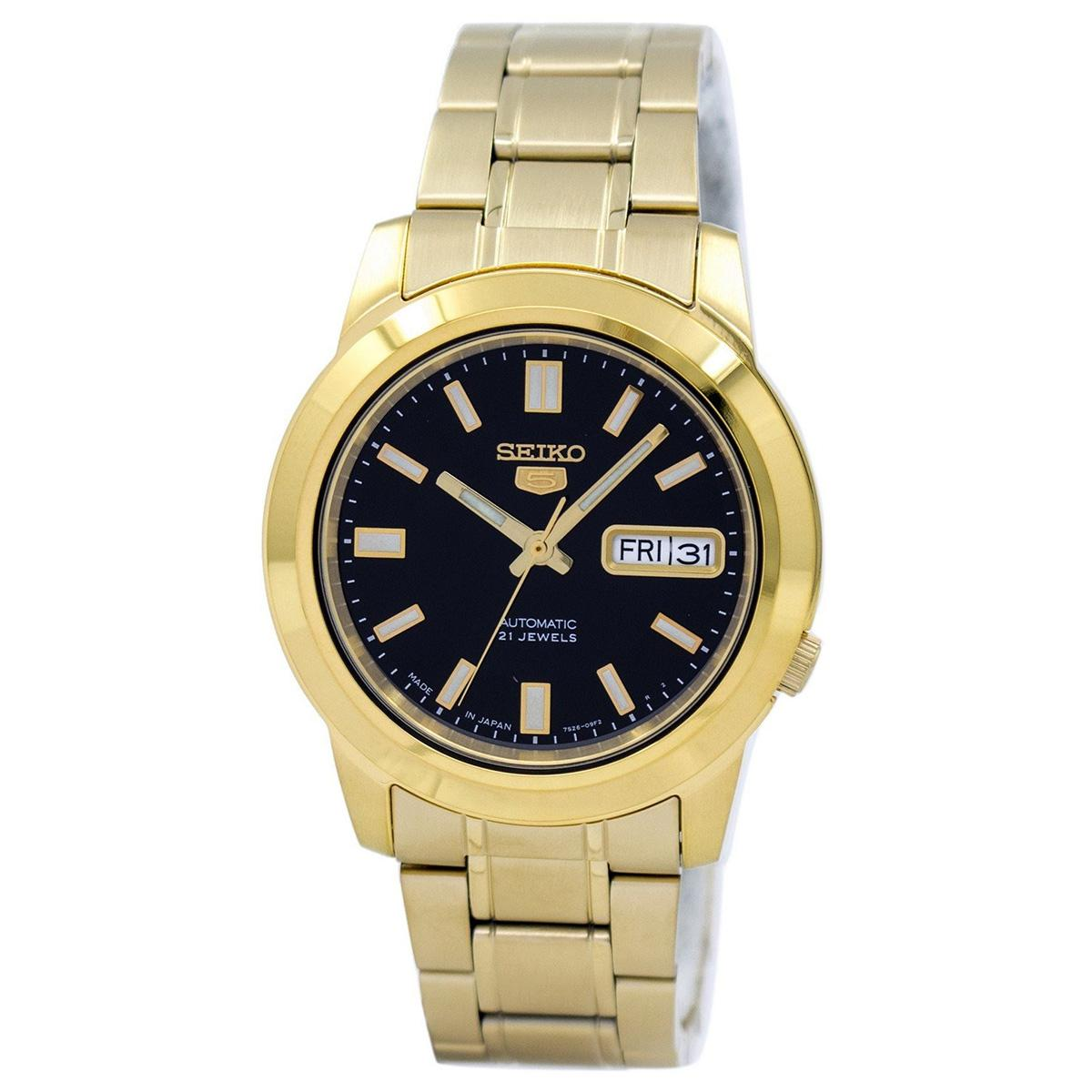 Seiko 5 Automatic Gold Stainless-Steel Case Stainless-Steel Bracelet Mens JAPAN SNKK22J1