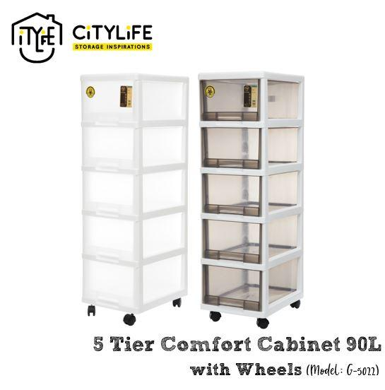Citylife 90L 5 Tier Comfort Cabinet with Wheels