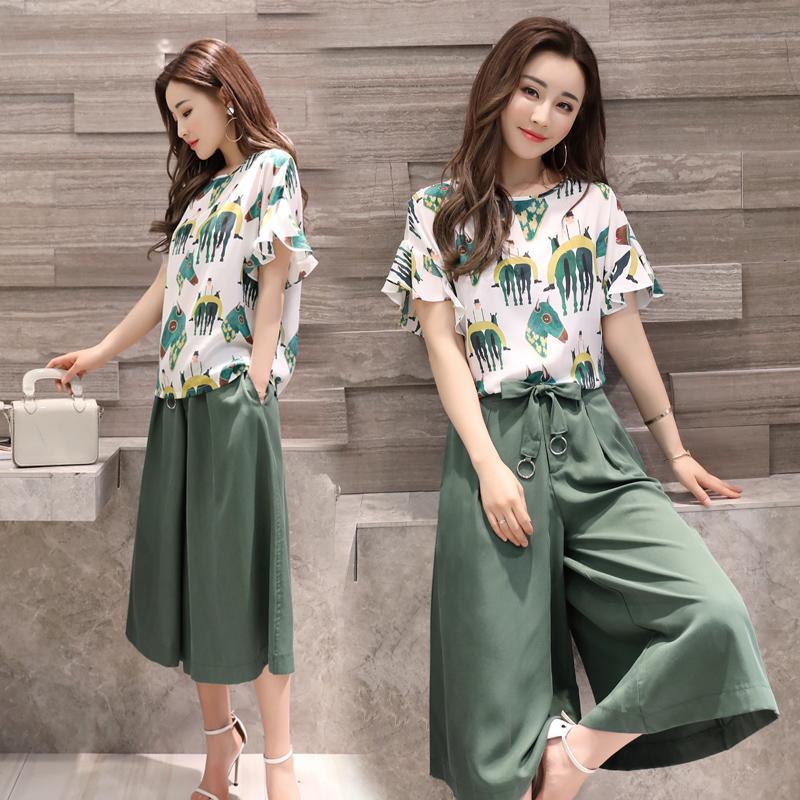 c09b5657c2a Large Size Dress Wide Leg Pants Set 2018 New Style Korean Style Summer  Short-sleeved