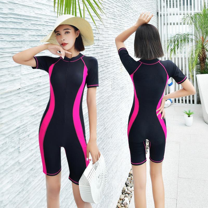 a84a9163c38f1 Slim Women One Piece Swimsuits Summer Rash Guards Short Sleeves Swimwear  2019 Female Patchwork Surfing Swimming
