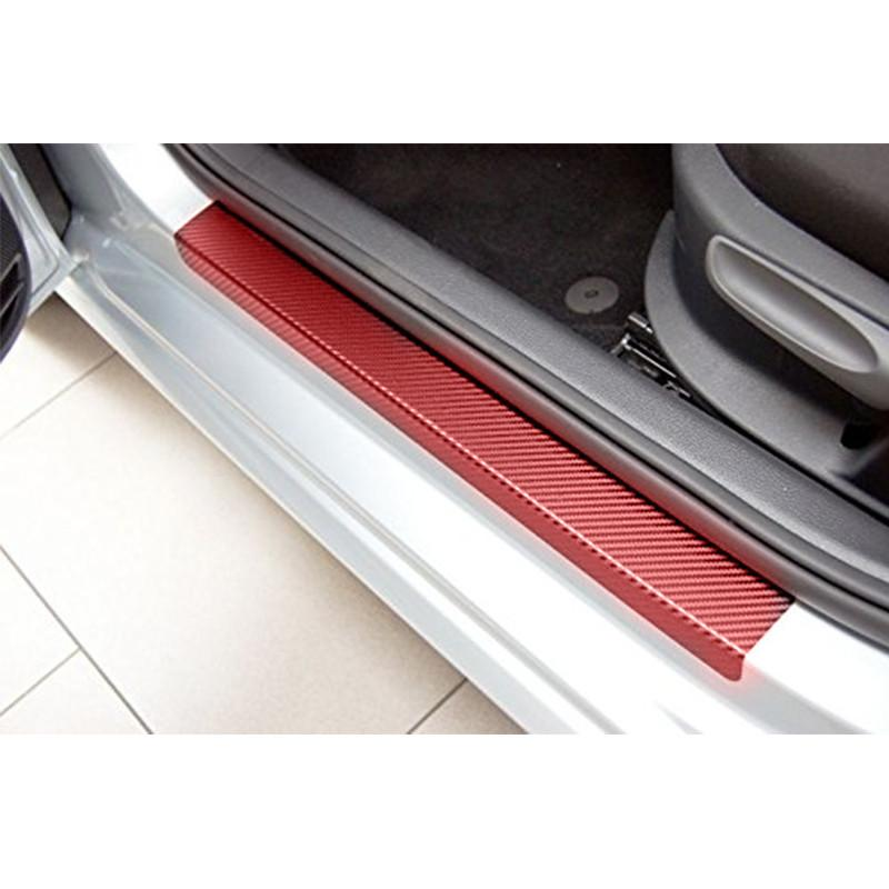 Redcolourful 4pcs/set Sedan Hatchback Car Door Sill Scuff Pedal Car Door Plate Car Sticker Protective Models:3d Carbon Fiber Sticker Red By Redcolourful.
