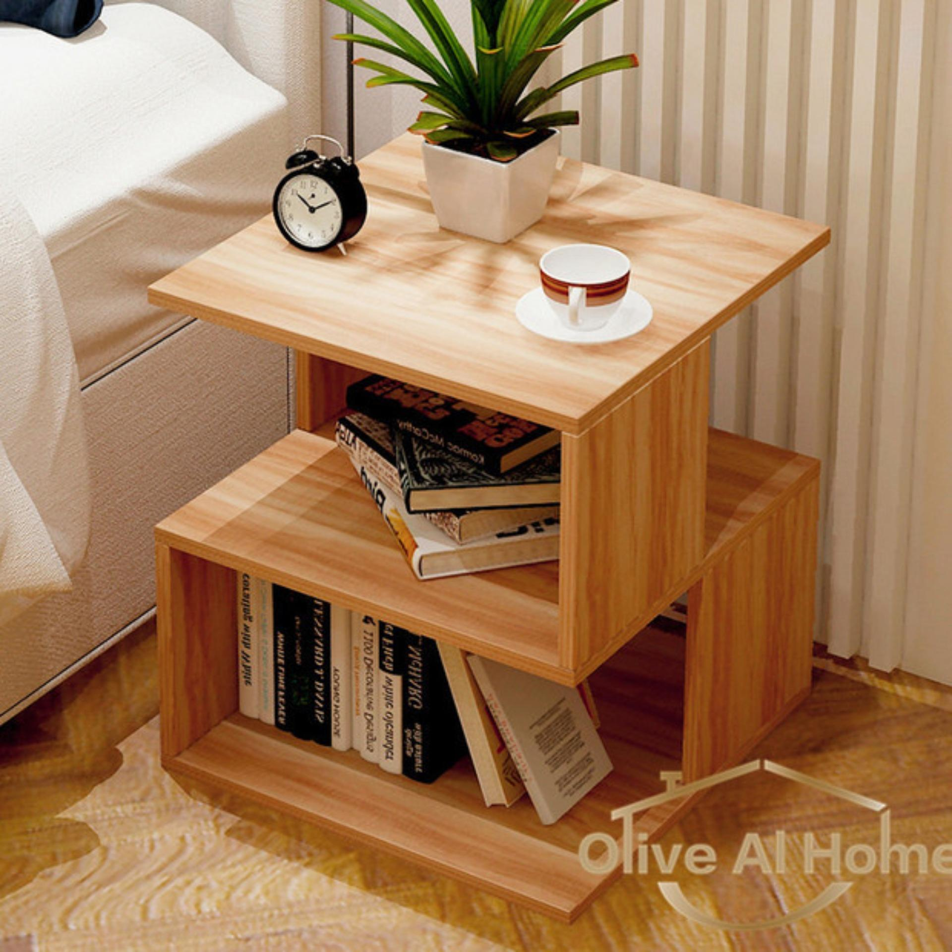 Bedside Table Book Shelf Nightstand Storage Organizer