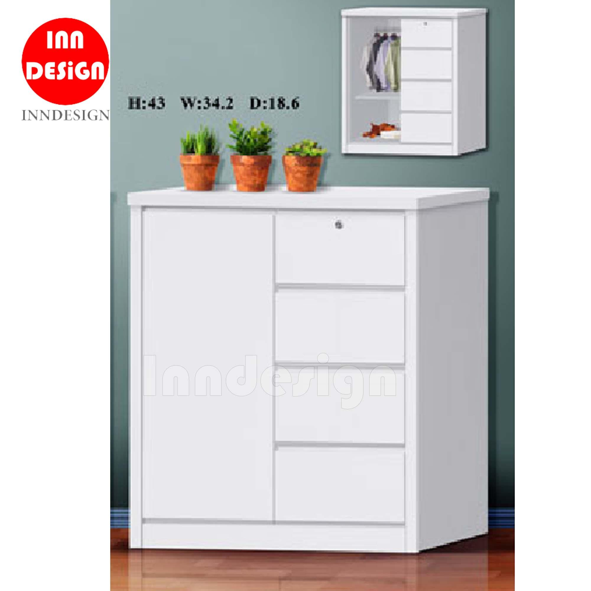 Elias Chest Of Drawer (White) - Deliver within 3 to 5 Working Day