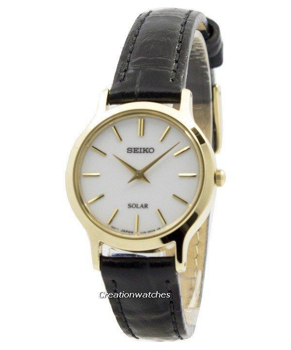 Seiko Solar White Dial Women's Black Leather Strap Watch SUP300P1
