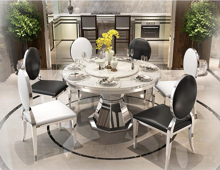 JIJI Statue Dual Round Marble Top Dining Table (Free Installation) (Dining Table) Free 12 Month Local Seller Warranty) (SG)