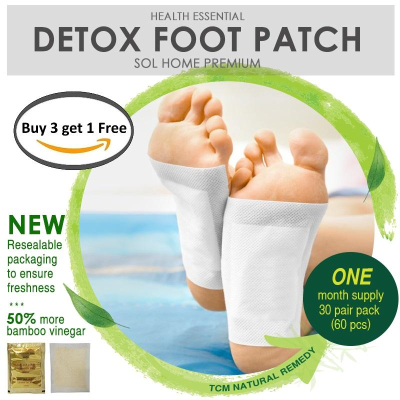 Sol Home ® Bundle Of 3 + 1 Premium Detox Foot Patch Sealed In Mylar Bags Ensures Freshness - 100% Natural Premium Detox Foot Patch By Shoponlinelah By Sol Home.