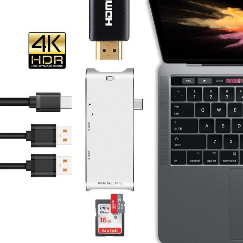 [SG Seller] MacBook Thunderbolt 3 USB Type C Hub, Aluminum 6-in-1 Type-C Adapter With 4K HDMI Port, 2 USB 3.0 Ports, SD & Micro SD Card Reader for MacBook/MacBook Pro/ HP i7/Dell XPS And So On  [Local Warranty]