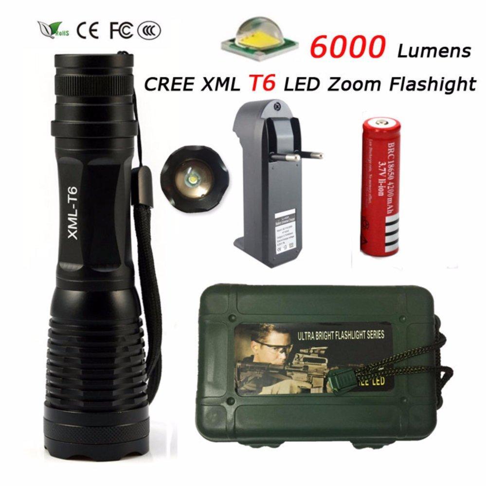 FFY XML T6 LED Flashlight 6000 Lumens Lanterna High Power Adjustable led Torch Zoomable Flashlight Waterproof Torch Light (Black) + Charger +1* 18650 - intl