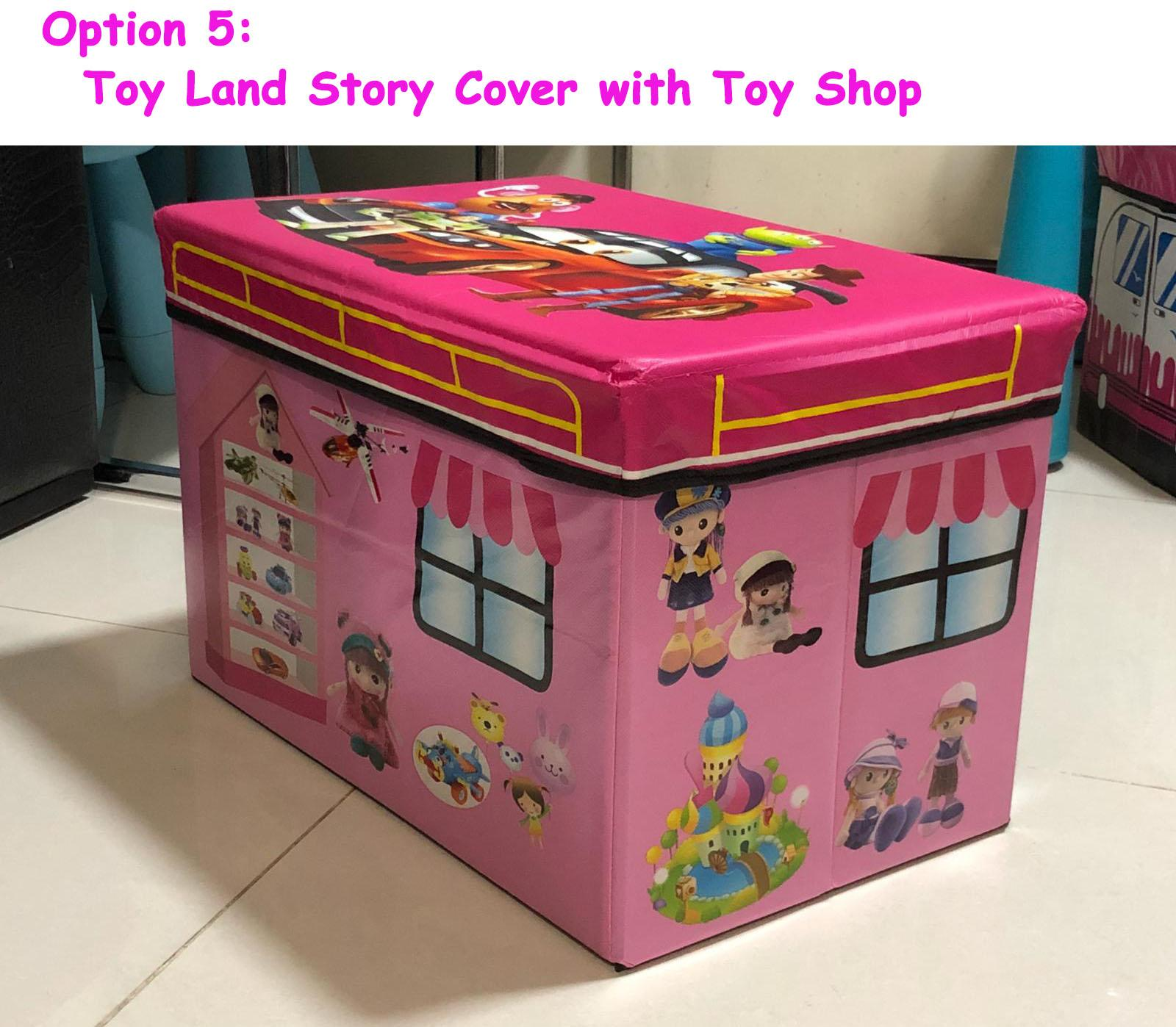 Foldable Large Soft Toy Storage Box for Kids Great sitting stool Storage for Baby Clothes Container Book Bench for Boy and Girl Nursery Trunk - Mix and match - cover (Pink, McQueen race car, Toy Story Land and side view (Toy shop and ice cream Shop)