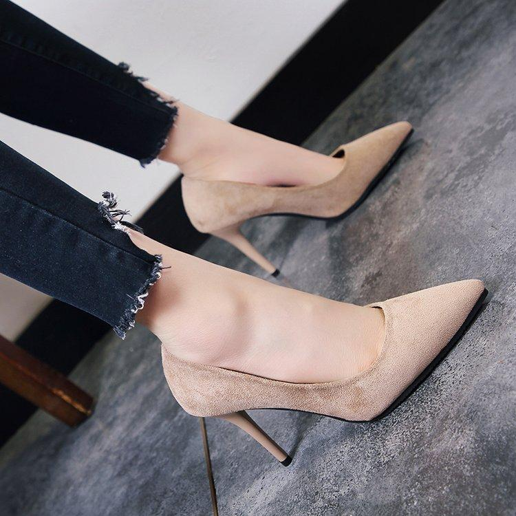 Korean-Style Womens Suede Pointed Heel High Heels By Taobao Collection.