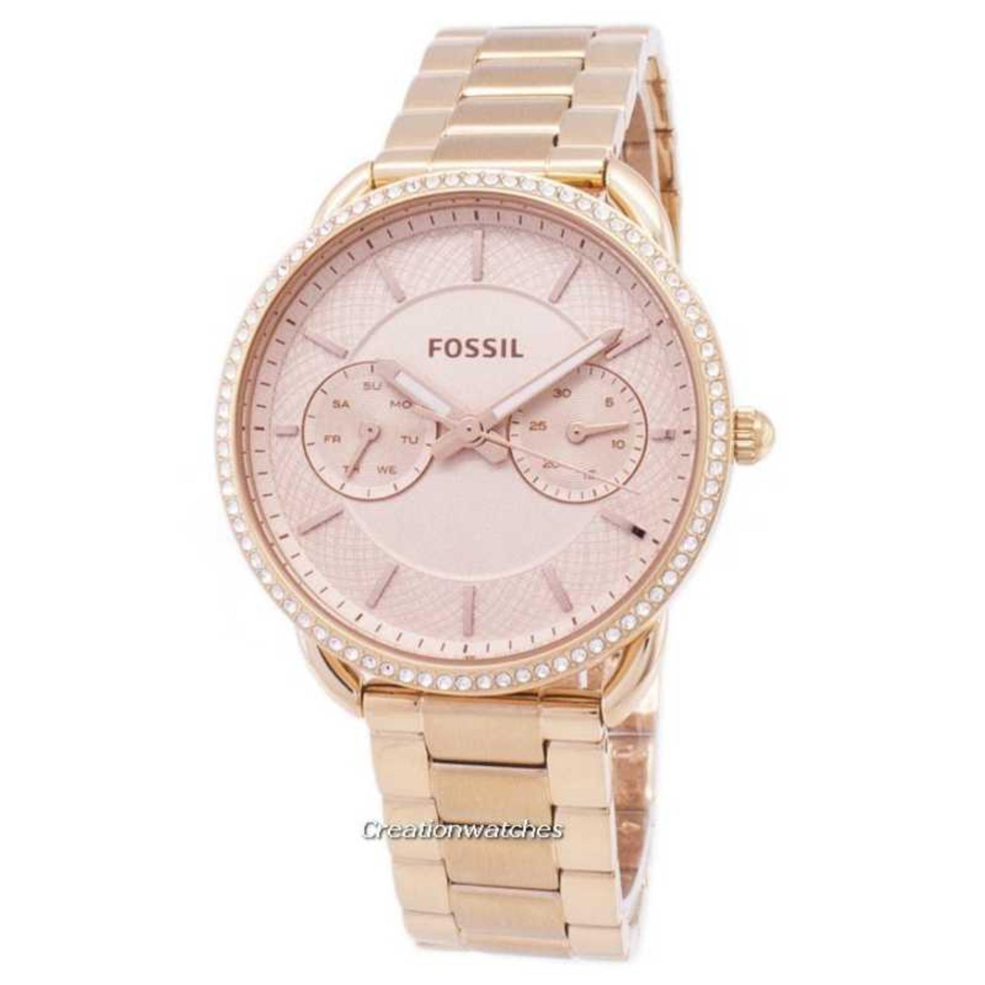941836ece96 Fossil Tailor Multifunction Quartz Diamond Accents Women's Rose Gold  Stainless Steel Bracelet Watch ES4264